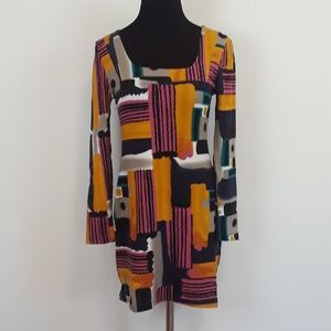 NWT Aryeh geometric print knit elbow sleeve dress